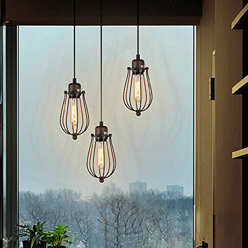 industrial pendant light ivalue vintage hanging wire cage pe