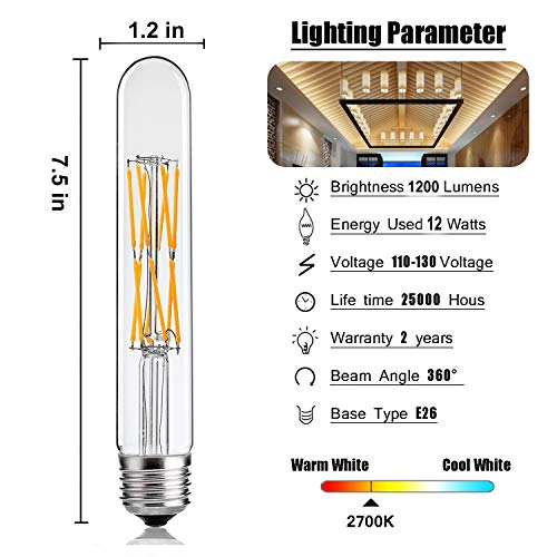 Leools T10 Led Bulbs 12w Dimmable Tubular Bulb 100 Watt